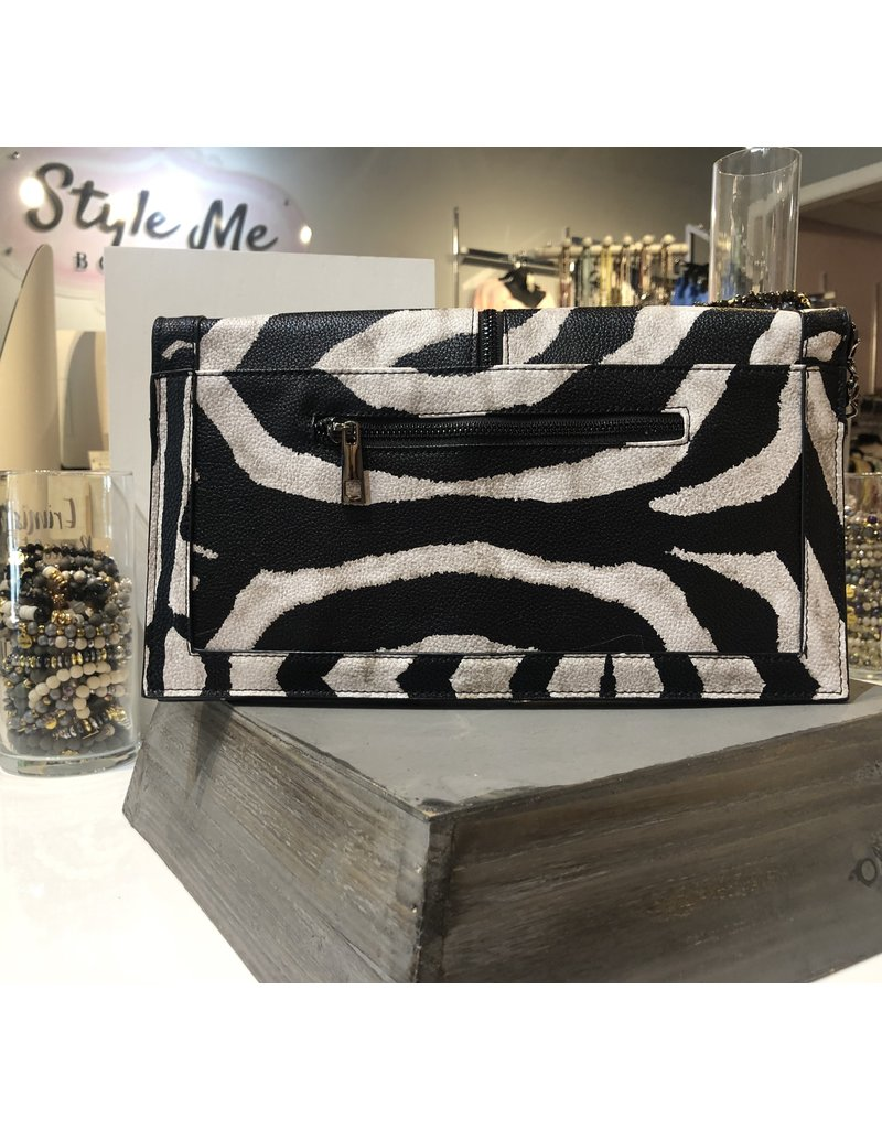 Studded Clutch/Crossbody Bag - Animal Print