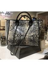 Snake Skin Handbag - Beige