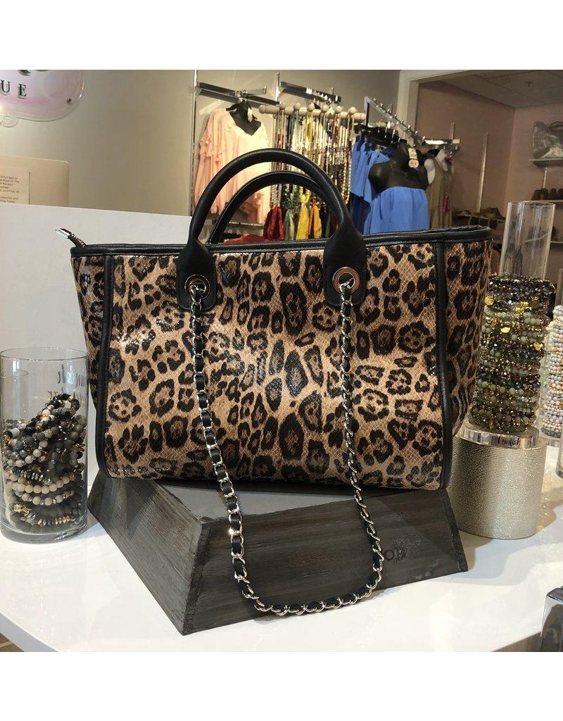 Leopard Handbag - Brown