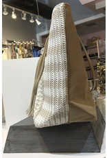 Woven Detail Tote - Beige