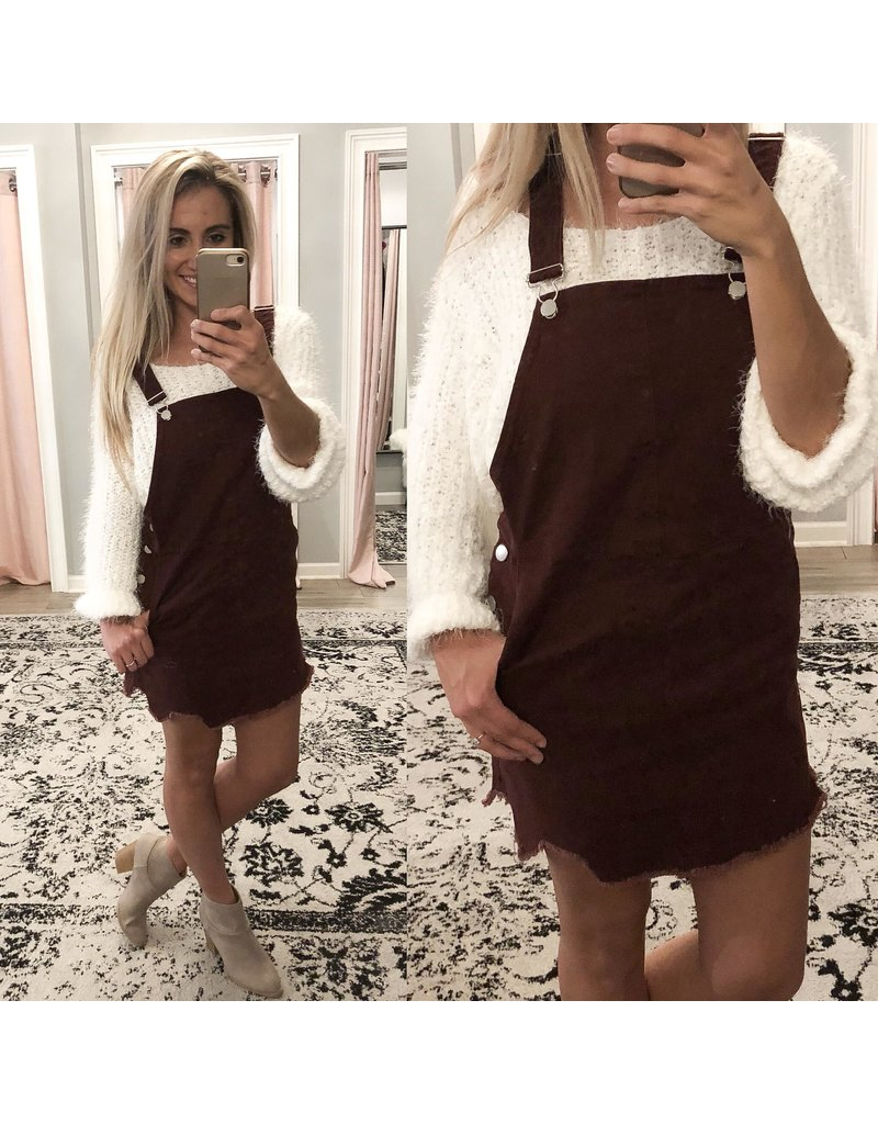 Denim Dress Overall - Maroon