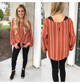 Peppermint Striped Tie Detail Top - Rust