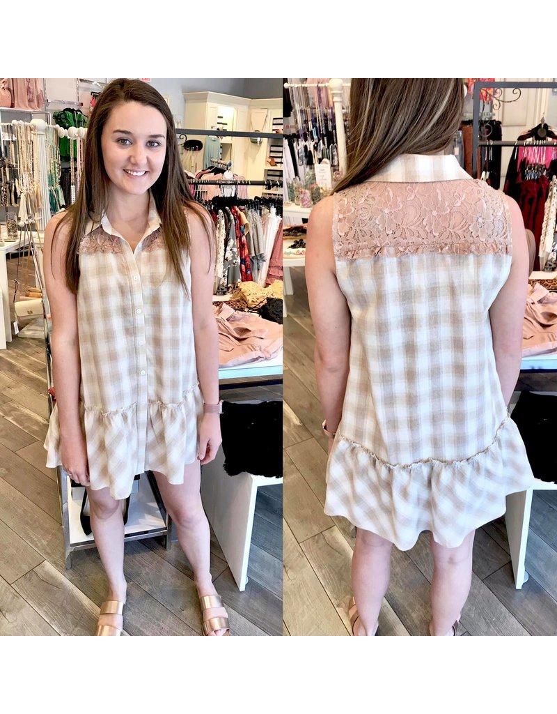 Lace Detail Plaid Shirt - Taupe