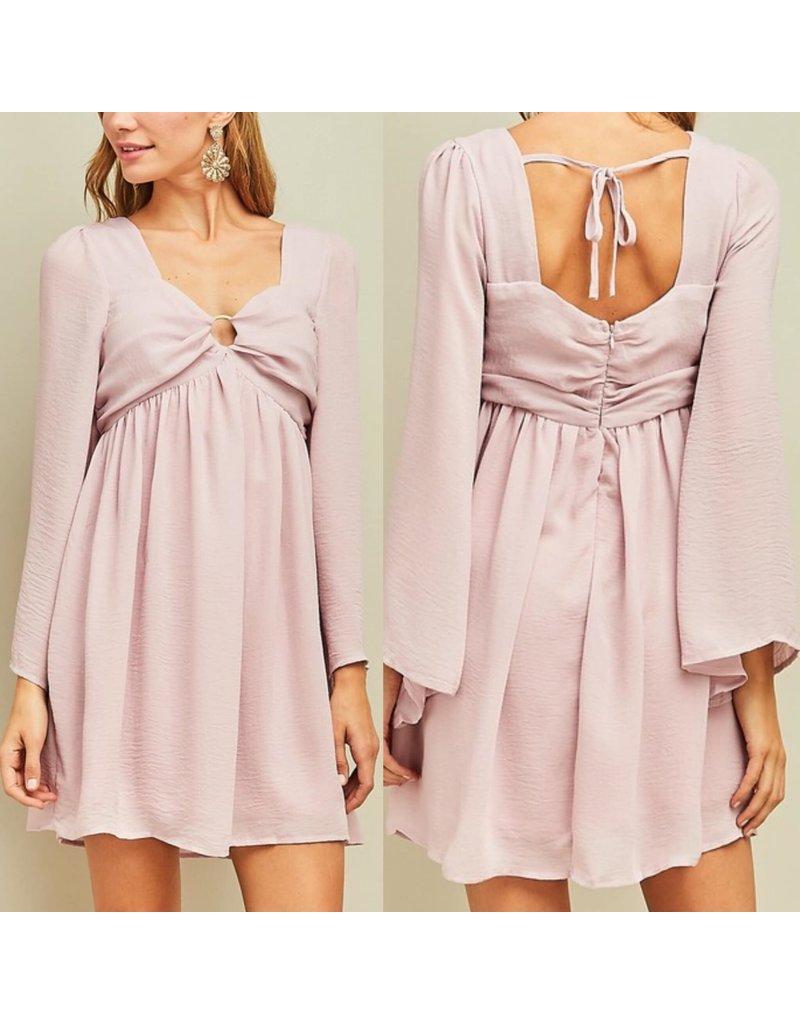 Ring  Detail Dress - Tea Rose