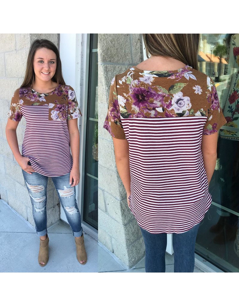 Striped/Floral Tee - Red Brown