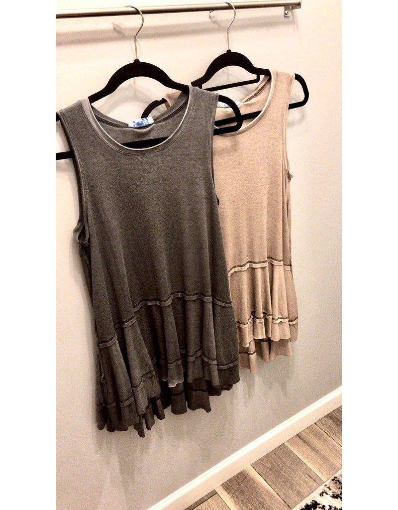 Garment Dye Ruffle Detail Top