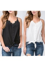 Crochet Lace Trim Tie Top