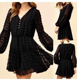 Swiss Dot Dress - Black