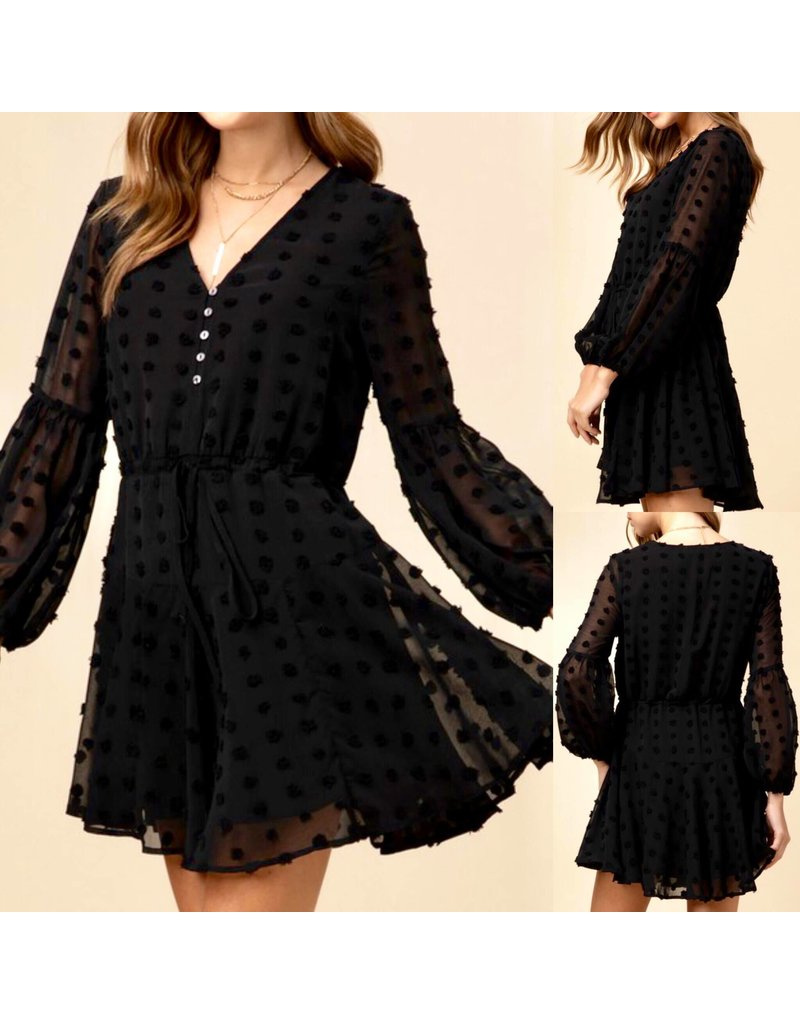 Swiss Dot Dress - Black