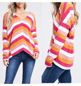 White Birch Striped Sweater Top - Fuchsia