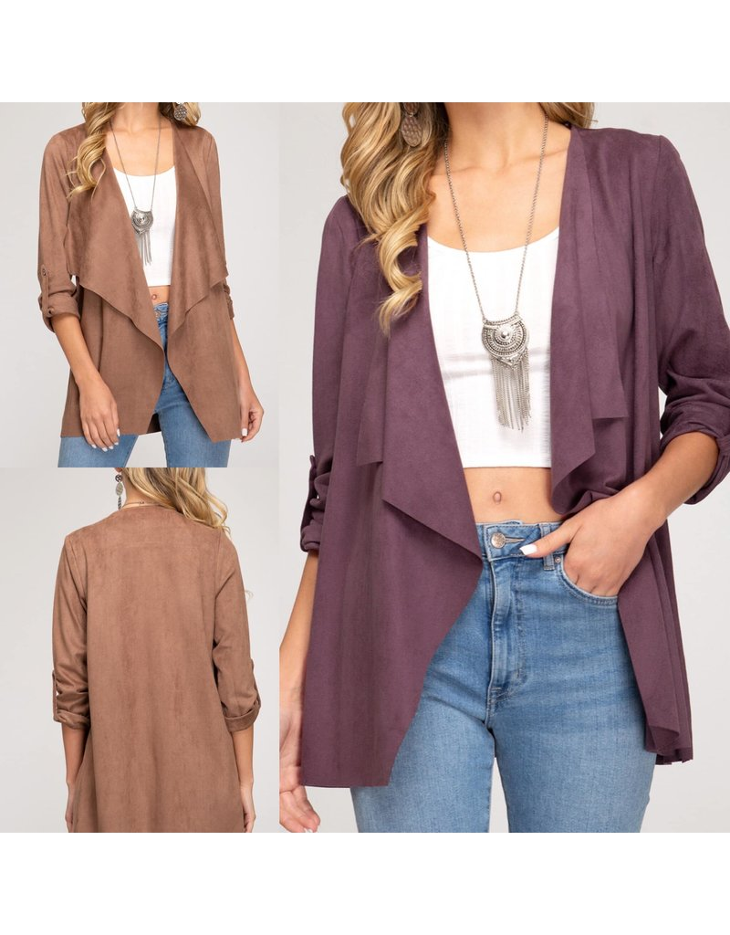 Roll Up Sleeves Suede Jacket