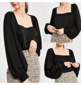 Silk Blouse Bodysuit - Black
