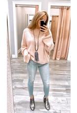 White Birch Cuffed Sleeves Sweater - Blush
