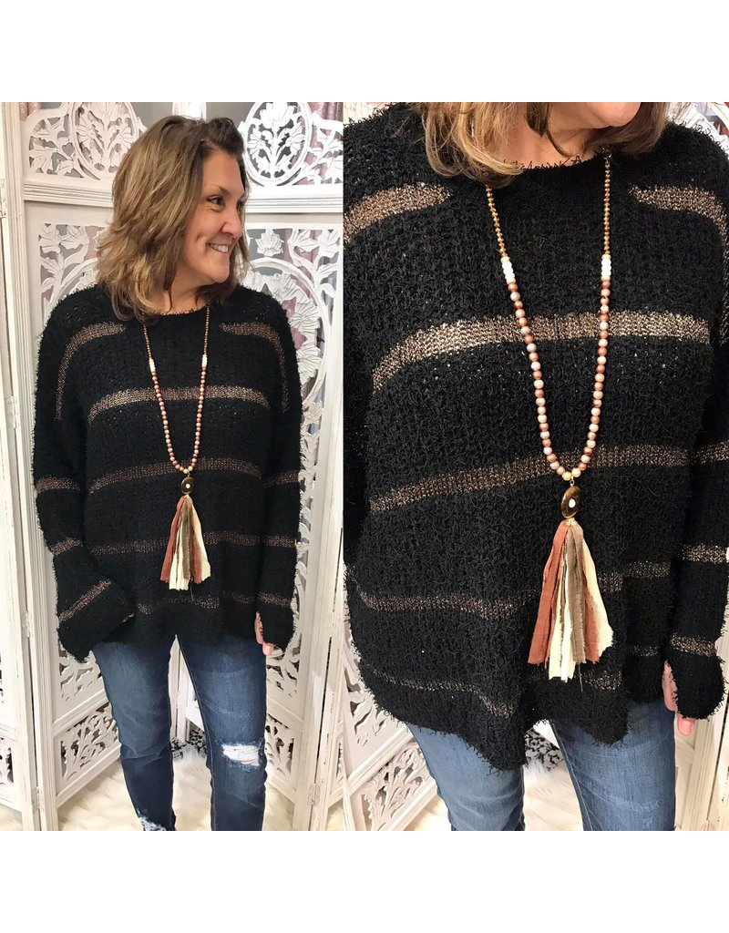Striped Mohair Sweater - Black