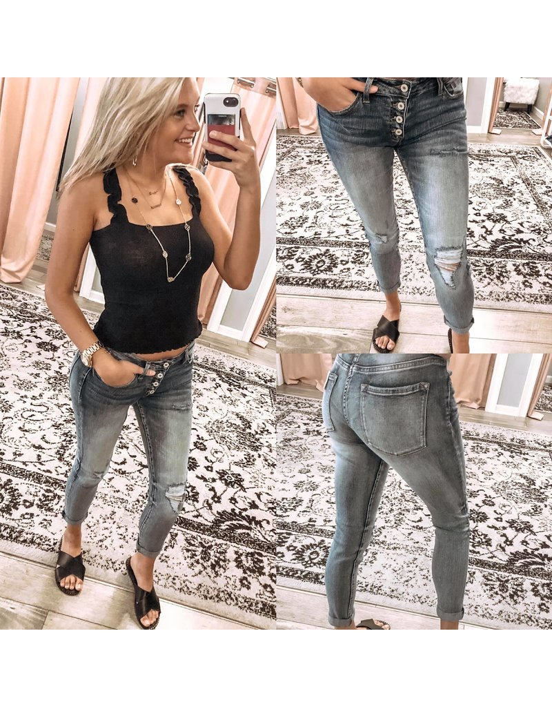 Mid Rise Button Jeans