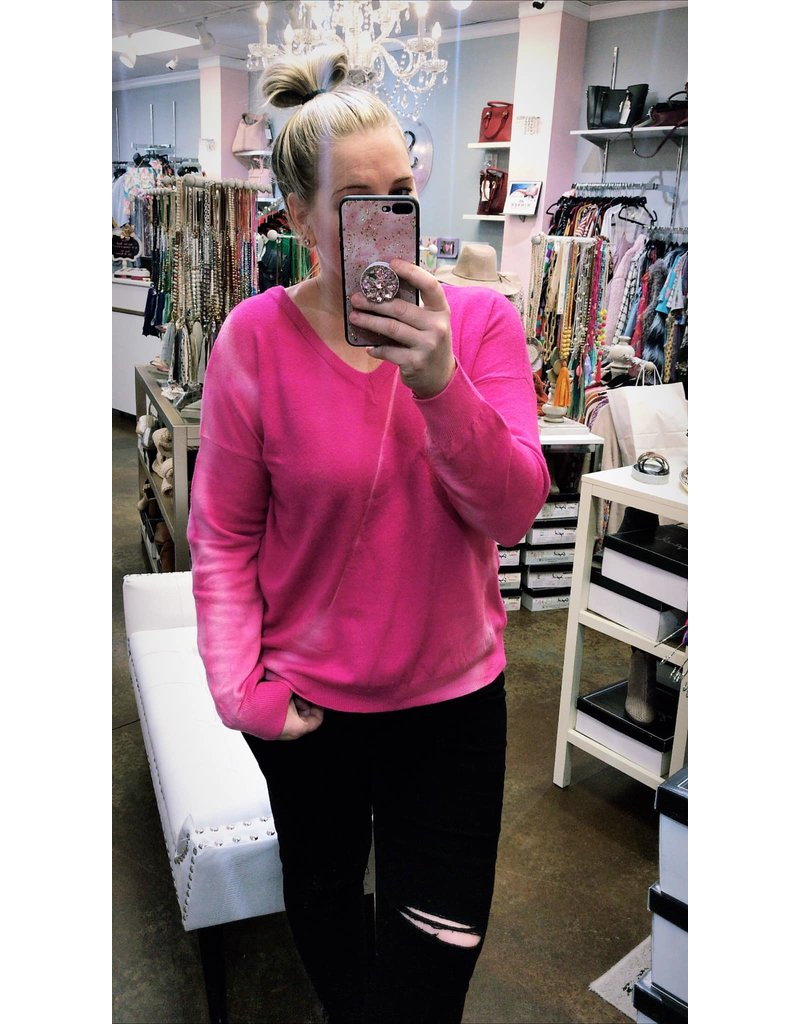 Tie Dye Sweater - Hot Pink