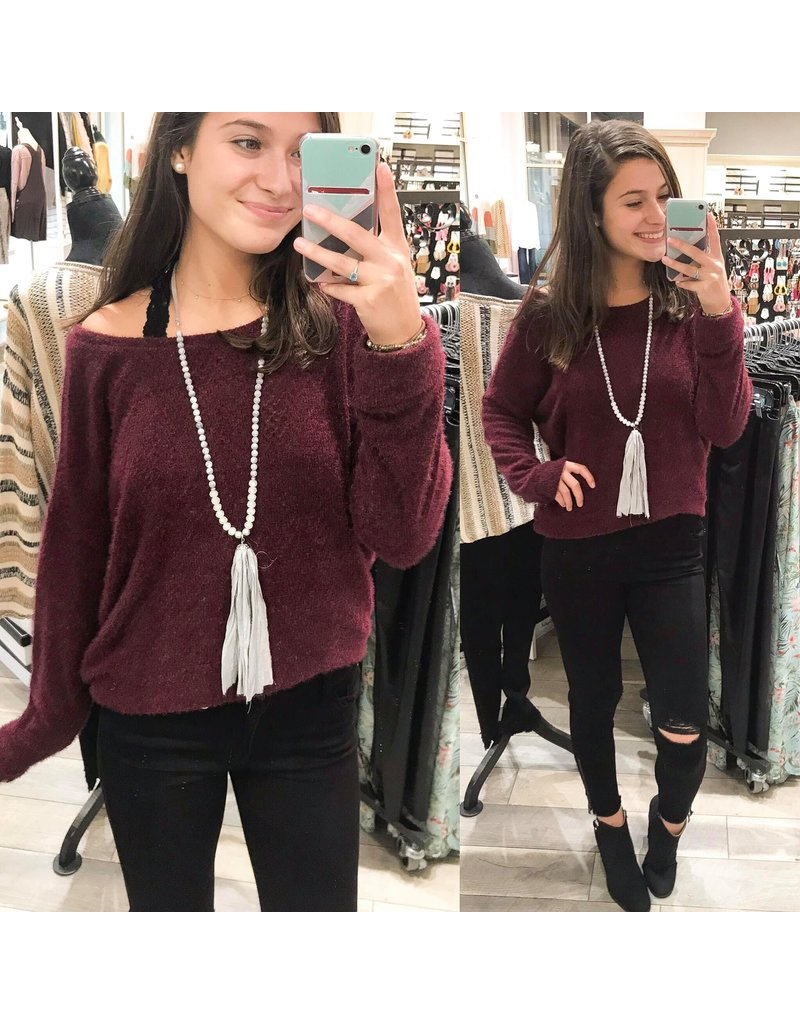 White Birch Dropped Shoulder Sweater Top - Wine