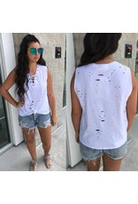 Distressed Top - White