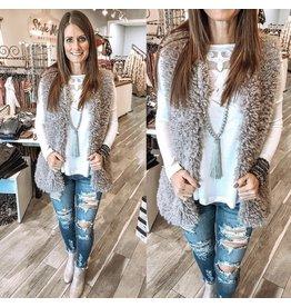 Fur Vest with Pockets- Grey