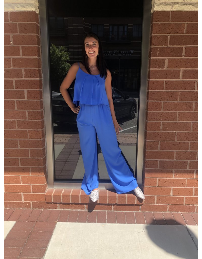 Tuck Pleat Jumpsuit - Blue