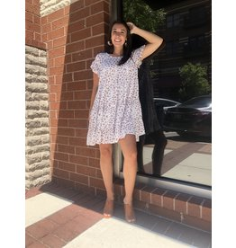 Spotted Print Babydoll Dress - Off White