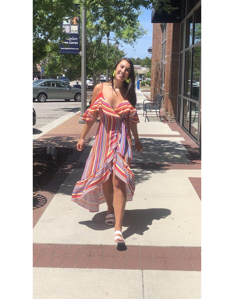 Striped Maxi Wrap Dress - Red