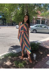 Chevron Striped Dress - Multi