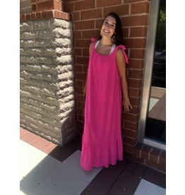 Tie Detail Maxi Dress - Fuchsia