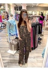 Animal Print Off Shoulders Jumpsuit - Camel