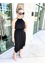 Halter Midi Dress- Black
