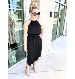 Halter Midi Dress- Black