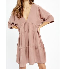 Back Tie Tiered Dress - Mauve