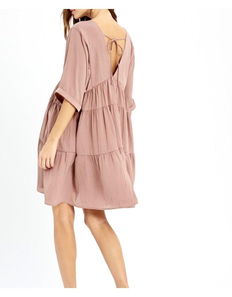 Back Tie Tiered Dress - Mauve