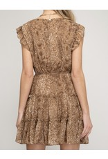 Tie Detail Snake Skin Dress - Camel