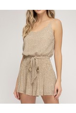 Pleated Cami Romper - Taupe
