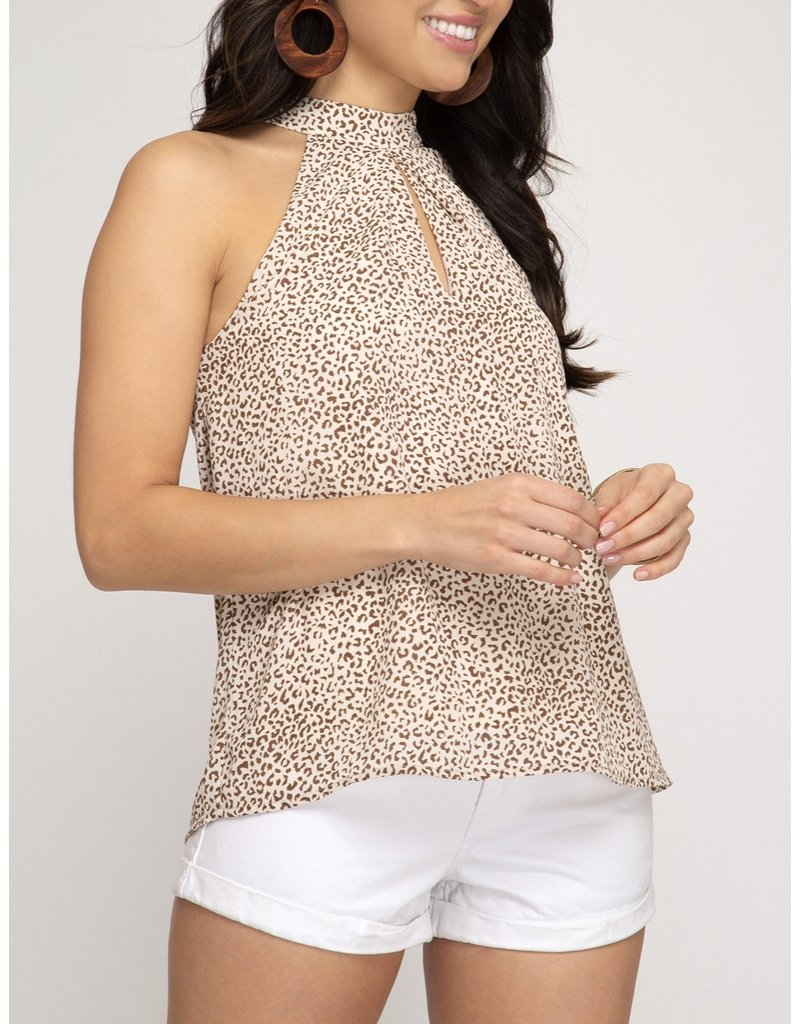 Leopard Halter Top - Taupe