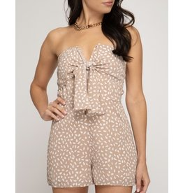 Front Tie Romper - Taupe