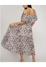 Off Shoulders Leopard Midi Dress - Off White
