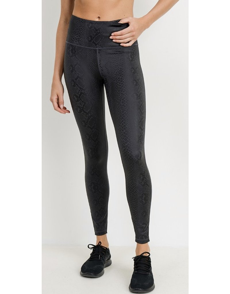 MonoB Snake Skin Foil Leggings - Black
