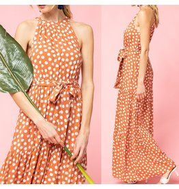 Polka Dot Halter Maxi Dress -Salmon
