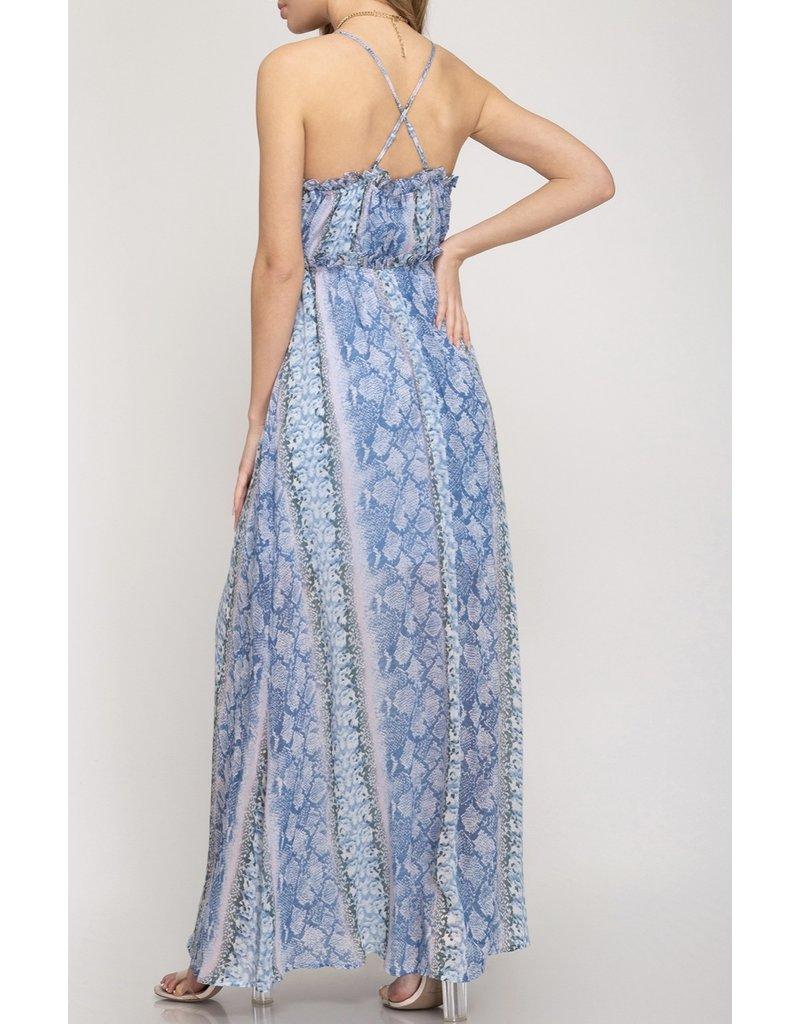 Snake Skin Maxi Dress - Blue
