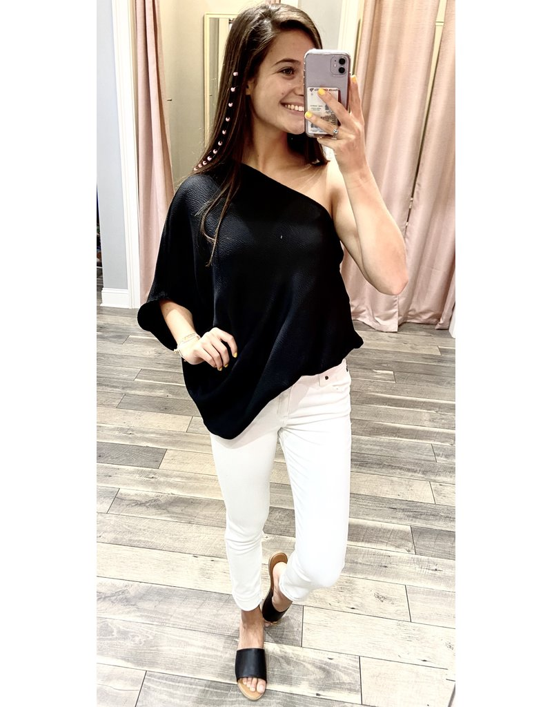 Hammered Satin One Shoulder Top