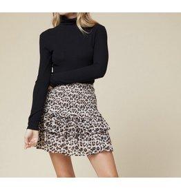 Leopard Ruffle Skirt - Taupe