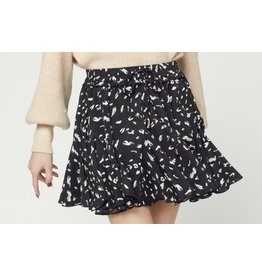 Cheetah Ruffle Skirt - Black