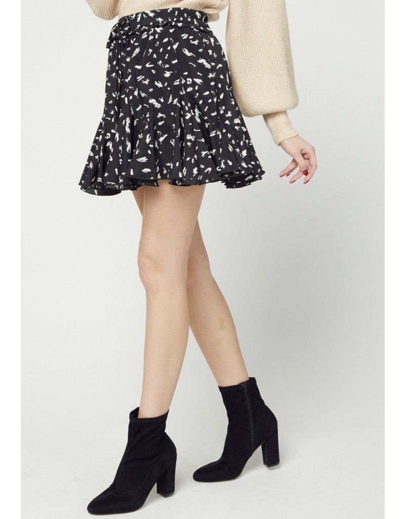 Cheetah Ruffle Skirt - Black