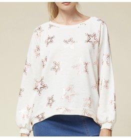 Metallic  Star Sweatshirt - Natural