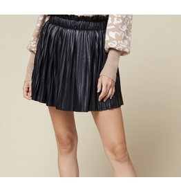 Faux Leather Pleated Skirt - Black