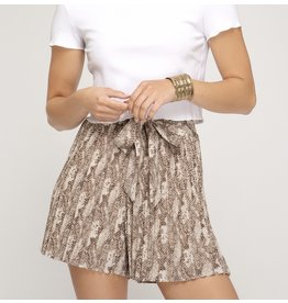 Pleated Snake Skin Shorts - Mocha