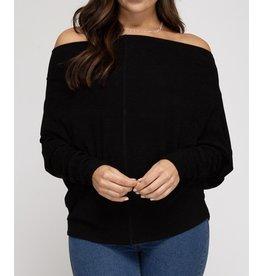 Oversized Knit Top - Black