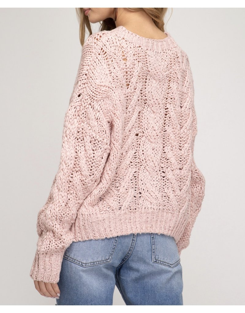 Cable Knit Sweater - Rose